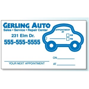 Appointment Card w/Removable Car Label