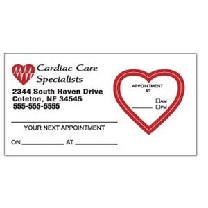 Appointment Card w/Removable Heart Label