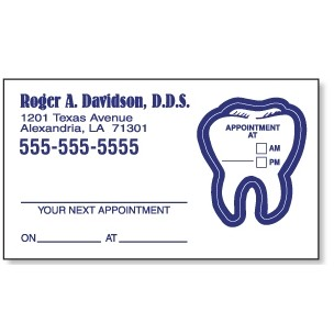 Appointment Card w/Removable Tooth Label